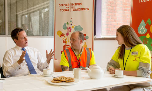 PM David Cameron at Coca Cola Enterprises' Wakefield plant speaking with 2014 Food Zone engineer, Danielle Epstein | Image © Stonehouse Photographic
