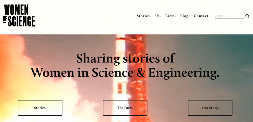 The explosive main page of the Women of Science website