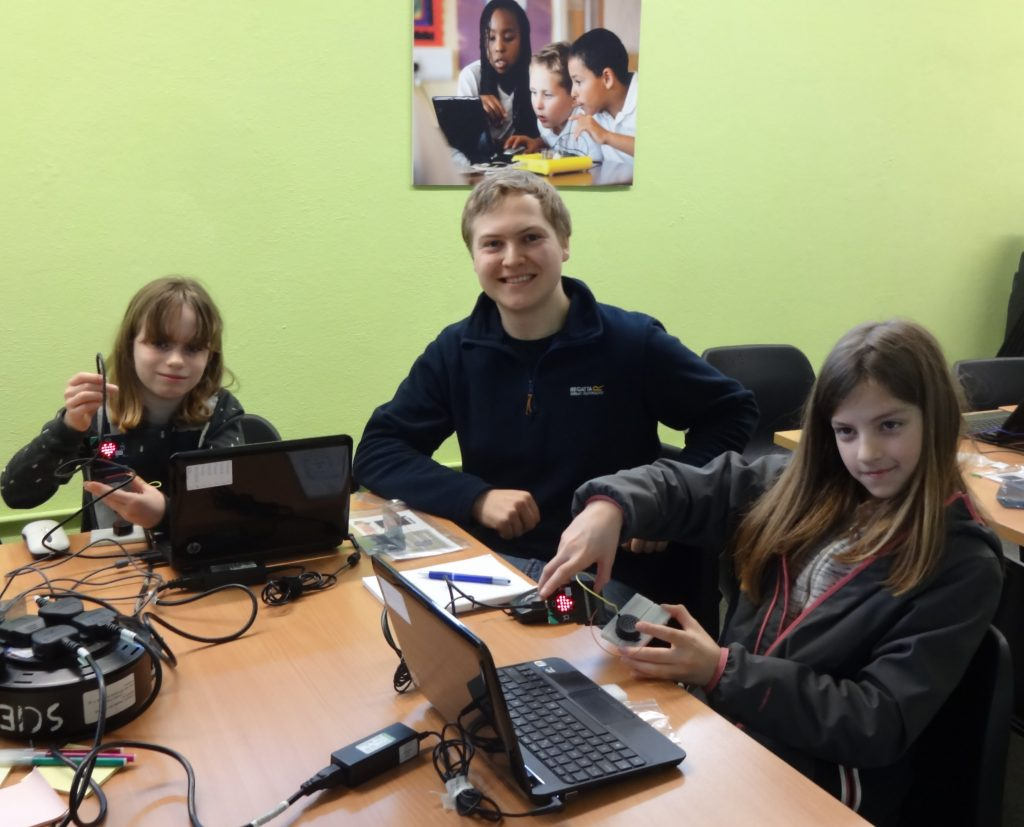 Stevie and the new coders taking part in his workshops